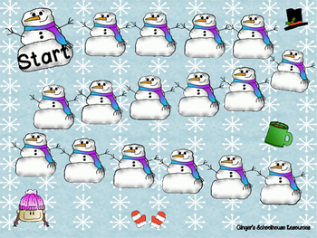Place Value Snowman Tens and Ones to 99 Board Game
