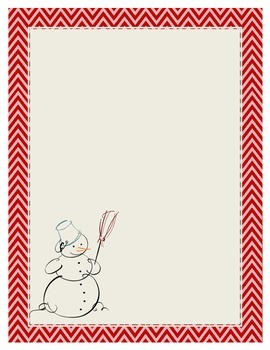 Snowman Thematic Writing and Drawing Stationary Paper Winter Christmas Chevron