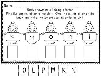 Snowman Theme Set of 5 Upper/Lowercase Alphabet Matching Printables; Print & Go!
