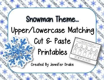 Snowman Theme Set of 5 Upper/Lowercase Alphabet Matching P