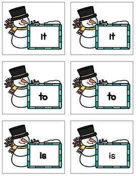 Dolch Sight Word Matching Cards Snowman Theme