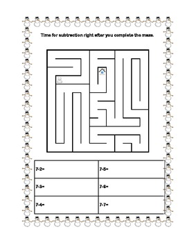 Snowman Themed -Addition+Subtraction within 20-Sequenced  Printable Worksheets