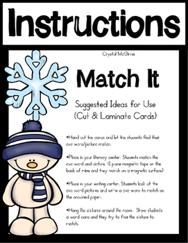 Snowman Themed CVC Word Literacy Center (56 Match It Cards)