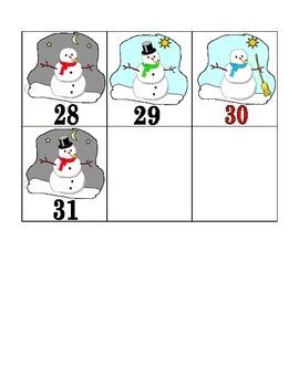 Snowman Themed Calendar Pieces