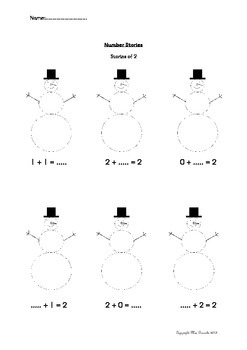 Snowman Themed Number Story Worksheet
