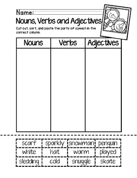 Parts Of Speech Snowman Worksheets Teaching Resources Tpt