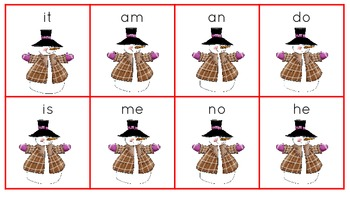Snowman Themed Sight Word Cards