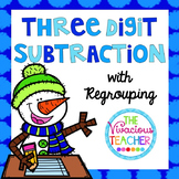 Snowman Three Digit Subtraction with Regrouping Matching Game