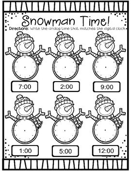 Snowman Time: A Winter Time to the Hour and Half Hour Packet