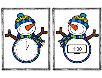 Snowman Time Match:  Analog and Digital Time (hour and half hour)
