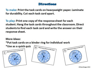 Snowman Time Task Cards - Time to the Half Hour