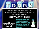 Fine Motor: Snowman Tongs Manipulatives Math Labs for Center Time or Therapy