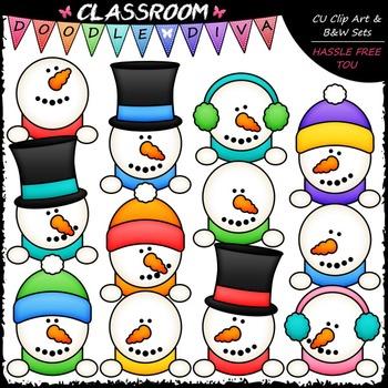 Snowman Toppers Clip Art - Snowmen Toppers Clip Art & B&W Set