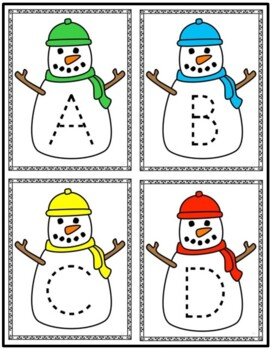 Snowman Letter and Number Tracing Cards