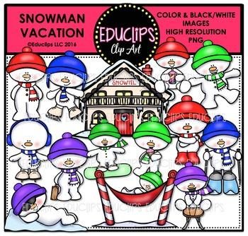 Snowman Vacation Clip Art Bundle