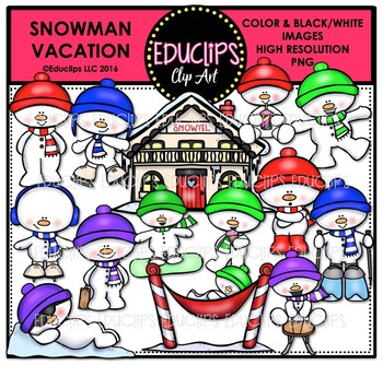 Snowman Vacation Clip Art Bundle  {Educlips Clipart}