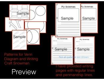 Snowman Venn Diagram and Description Writing Activity!