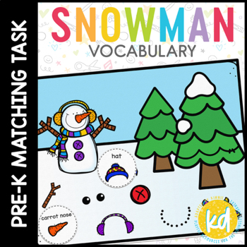 Snowman Vocabulary Folder Game for students with Autism