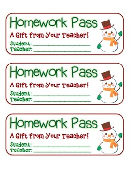 """Snowman Waving"" Homework Pass –Holiday FUN! (full color version)"