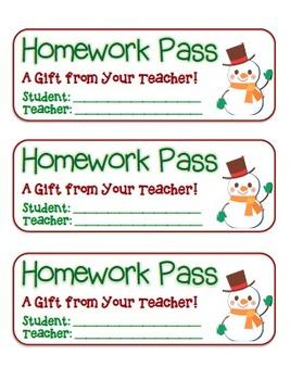 """Snowman Waving"" Homework Pass –Holiday FUN! (full color version)"