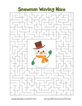 """""""Snowman Waving"""" Maze! Holiday FUN! (Color and Black Line)"""