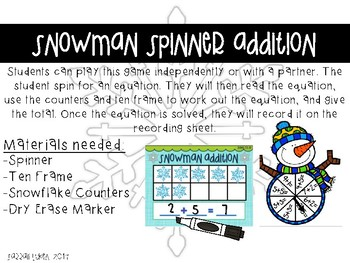 Snowman/Winter Addition Game with Spinner: Sums to 10 and 20