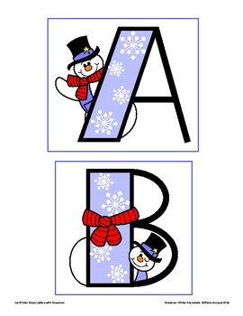 Snowman Winter Alphabets for Bulletin Boards and More - Two Sizes, Three Colors!
