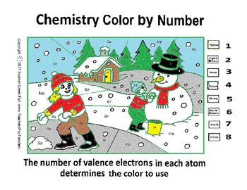 Snowman Winter Chemistry Color by Number - Valence Electrons