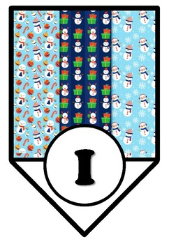 Snowman, Winter, Christmas, Bulletin Board Pennant Letters, Classroom Décor A-Z