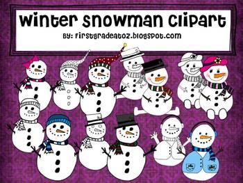 Snowman Winter Clipart Set