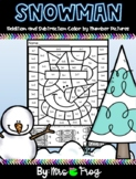 Snowman Winter Color by Number Addition and Subtraction Pictures