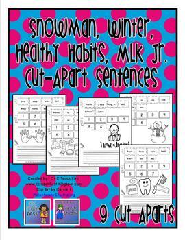 Snowman, Winter, Healthy Habits, MLK Cut Apart Sentences