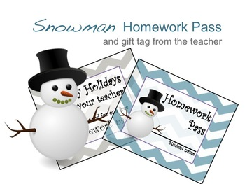 Snowman Winter Homework Pass and Holiday Gift tag Chevron