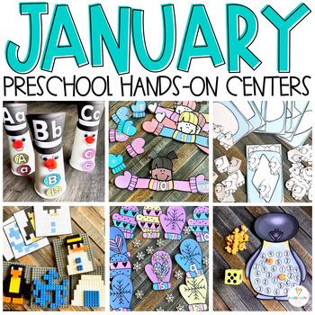 Snowmen & Winter (January) Math and Literacy Centers for Preschool
