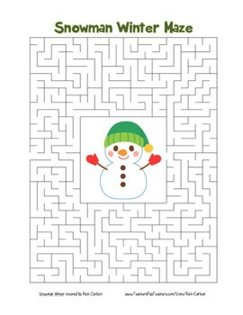 """Snowman Winter"" Maze! Holiday FUN! (Color and Black Line)"