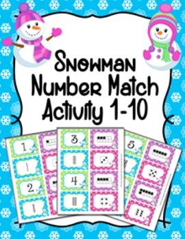 Snowman Winter Number Match Activity