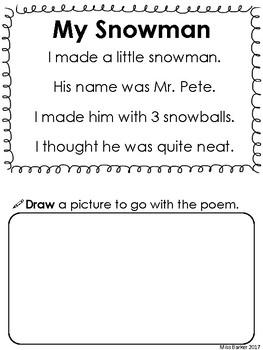 Snowman Winter Poem and Activities