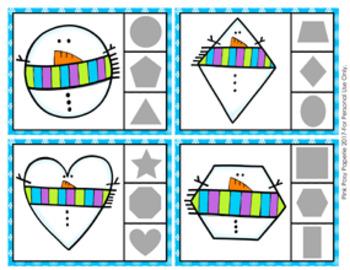 Snowman Winter Shapes Clip Cards