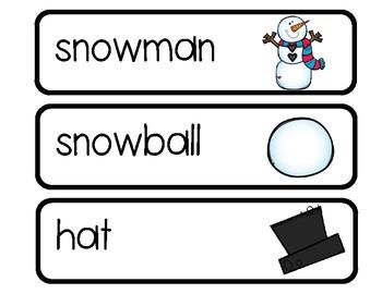 Snowman Word Cards