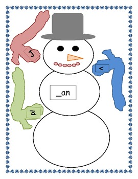 "Snowman Word Family Fun: Make Words that Belong to the ""an"" Family"
