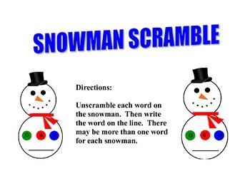 Snowman Word Scramble