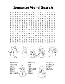"""Snowman"" Word Search – Holiday Fun! (Black Line Version)"