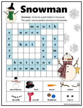 Snowman Word Search Primary Version With Pictures By