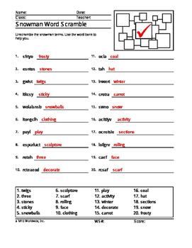 Snowman Word Search and Word Scrambles Printables Bundle