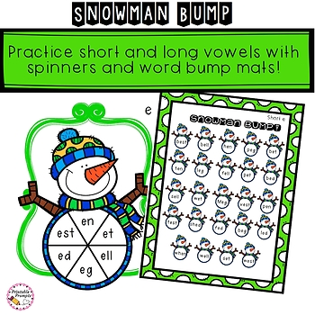 Snowman Word Work Game- Short and Long Vowels