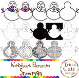 Mazes Clip Art Snowman Worksheet Elements Clip Art for Tracing Cutting Puzzle