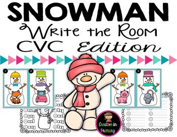 Snowman Write the Room - CVC Words Edition