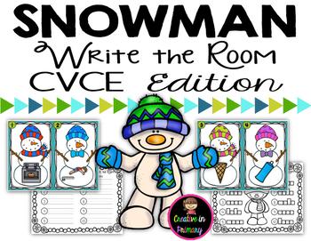 Snowman Write the Room - CVCE Words Edition