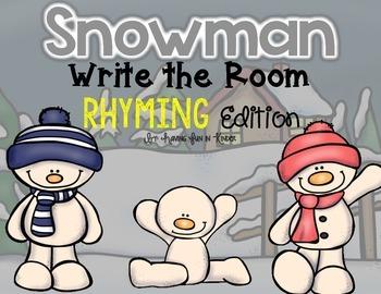 Snowman Write the Room - Rhyming Edition