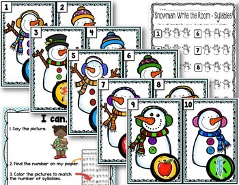 Snowman Write the Room - Syllables Edition